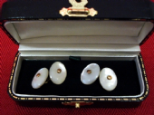 Late Victorian - 1920's Oval Chunky Mother of Pearl Cufflinks (SOLD)